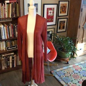 Style & Co. orange asymmetrical long cardigan
